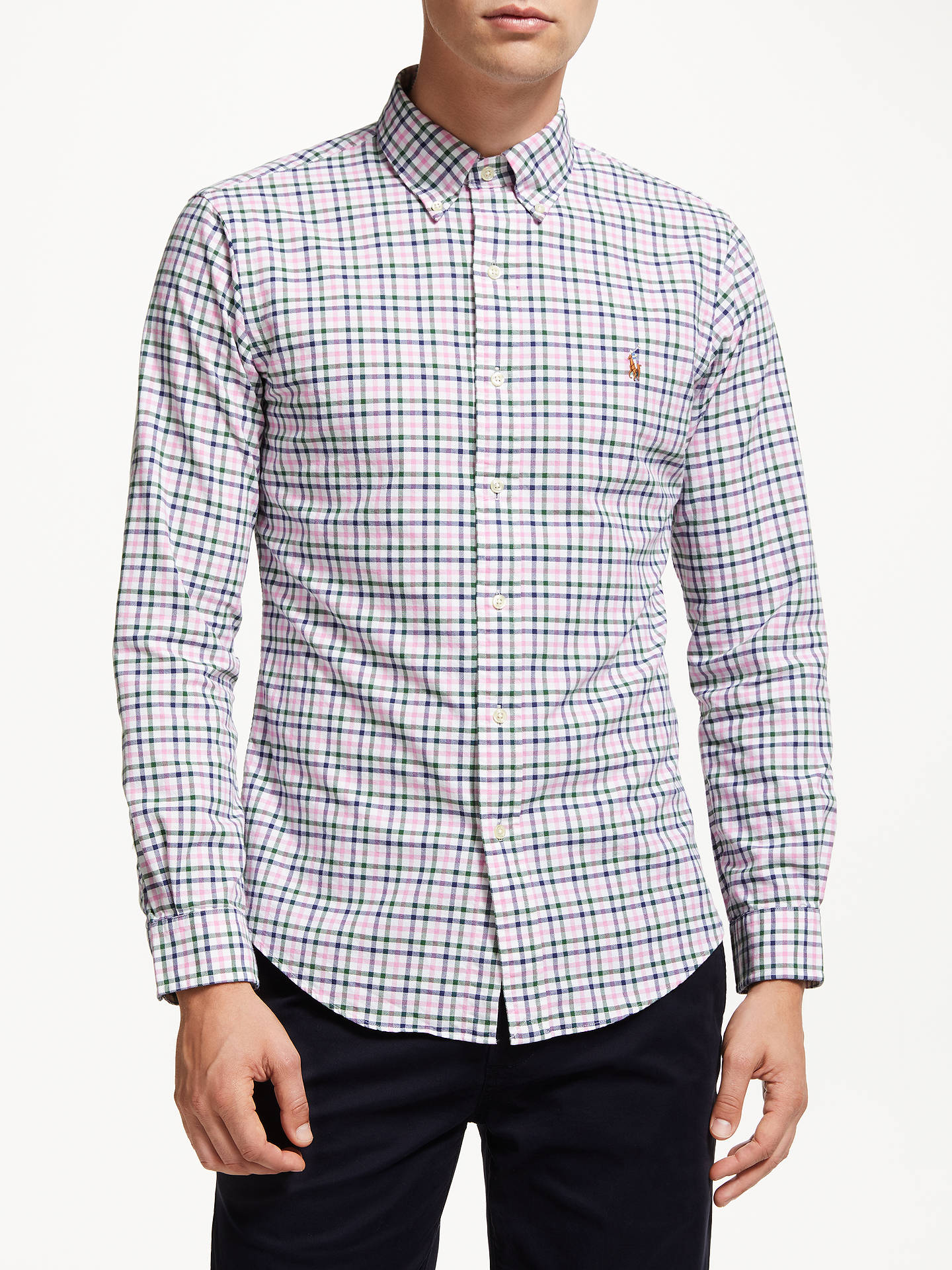 Buy Polo Ralph Lauren Check Sports Shirt, Pink/Green, S Online at johnlewis.com