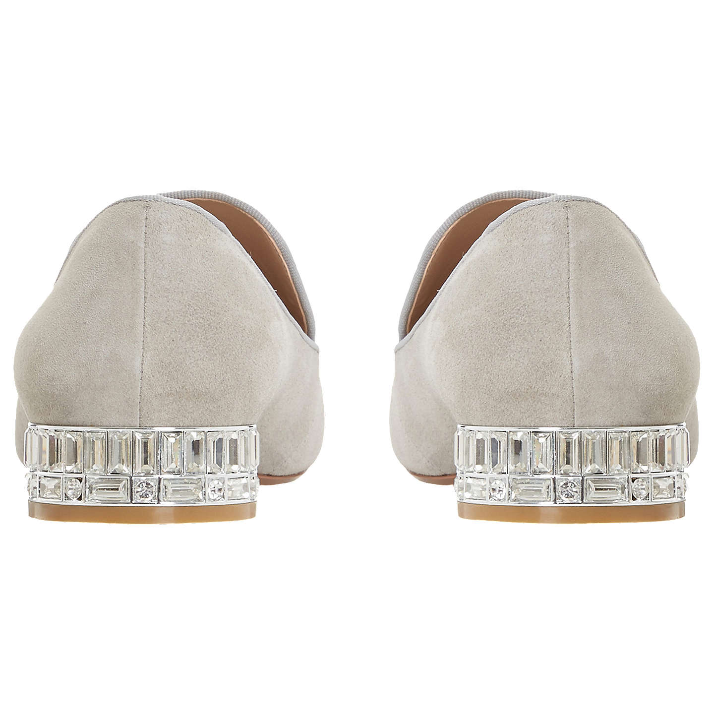 BuyDune Gigi Jewel Embellished Block Heel Loafers, Grey Suede, 8 Online at johnlewis.com