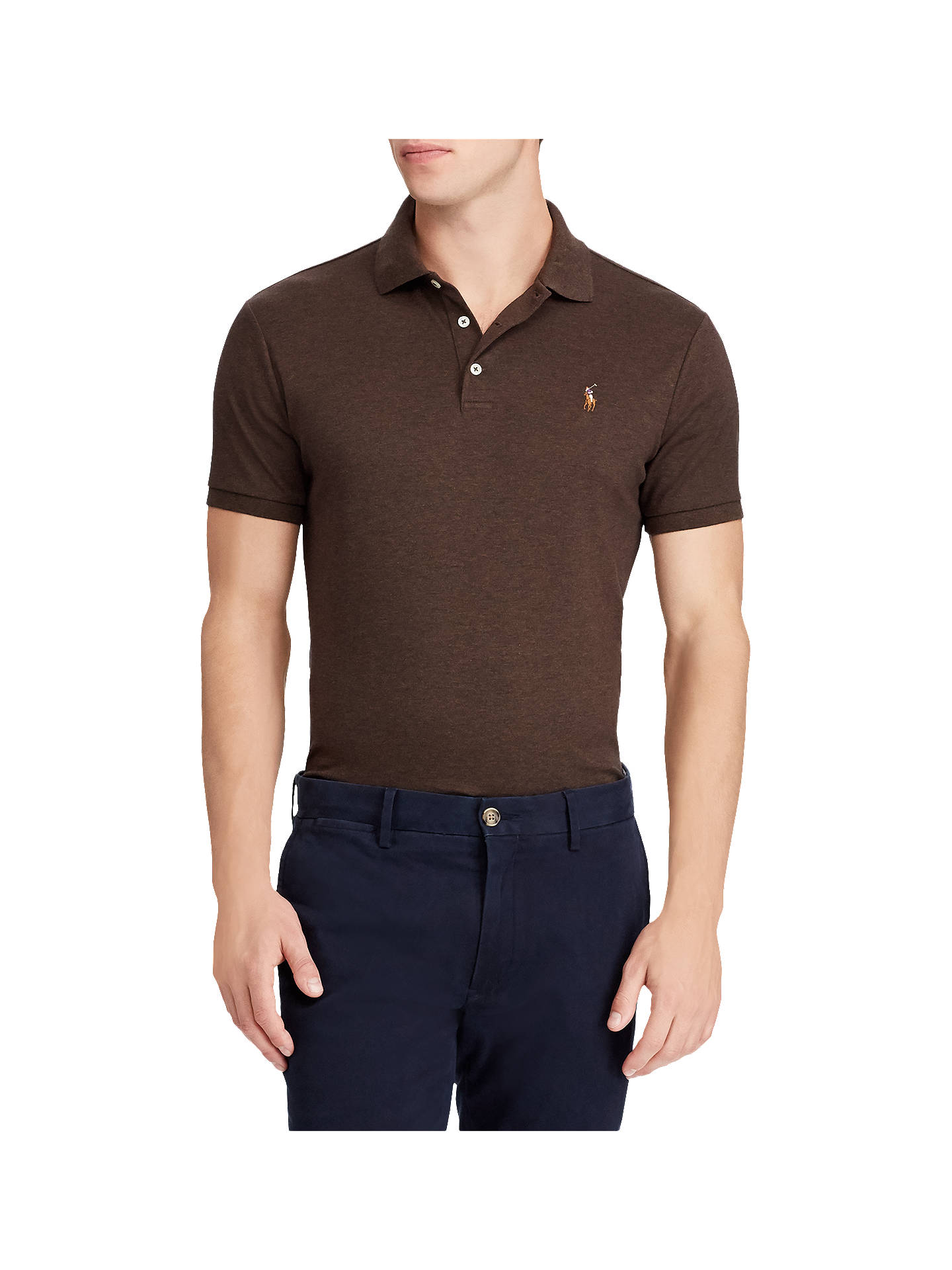 6cf0c57ff7f5d Buy Polo Ralph Lauren Pima Cotton Slim Fit Polo Shirt, Alpine Brown  Heather, S ...