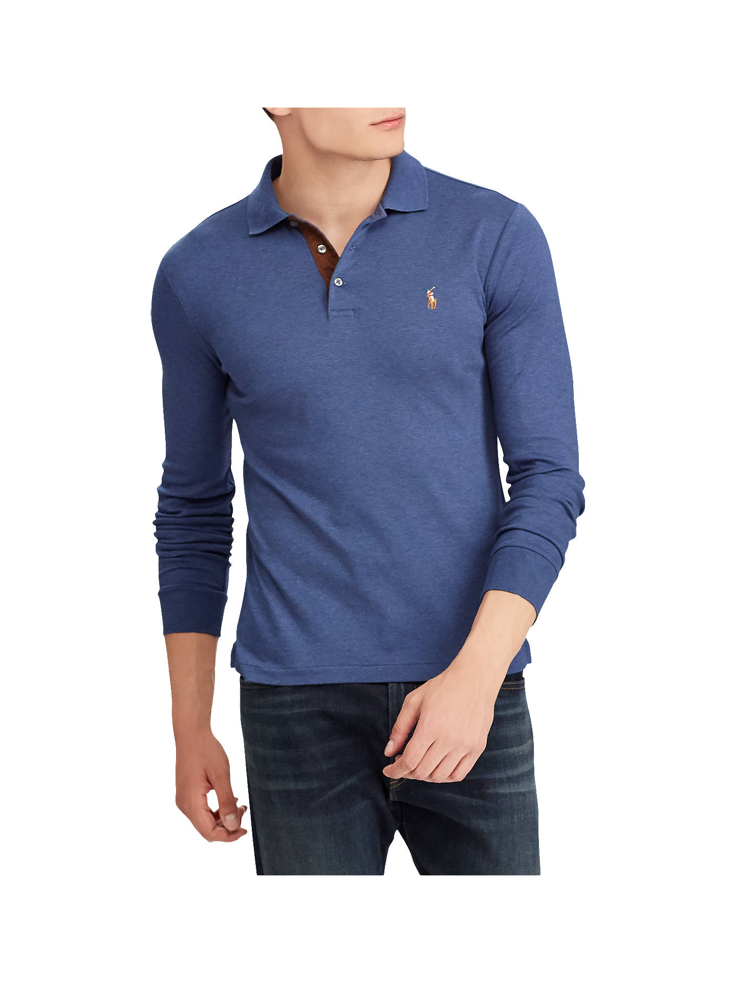 4a55eb4af Buy Polo Ralph Lauren Long Sleeve Pima Polo Shirt, Rustic Navy Heather, M  Online ...