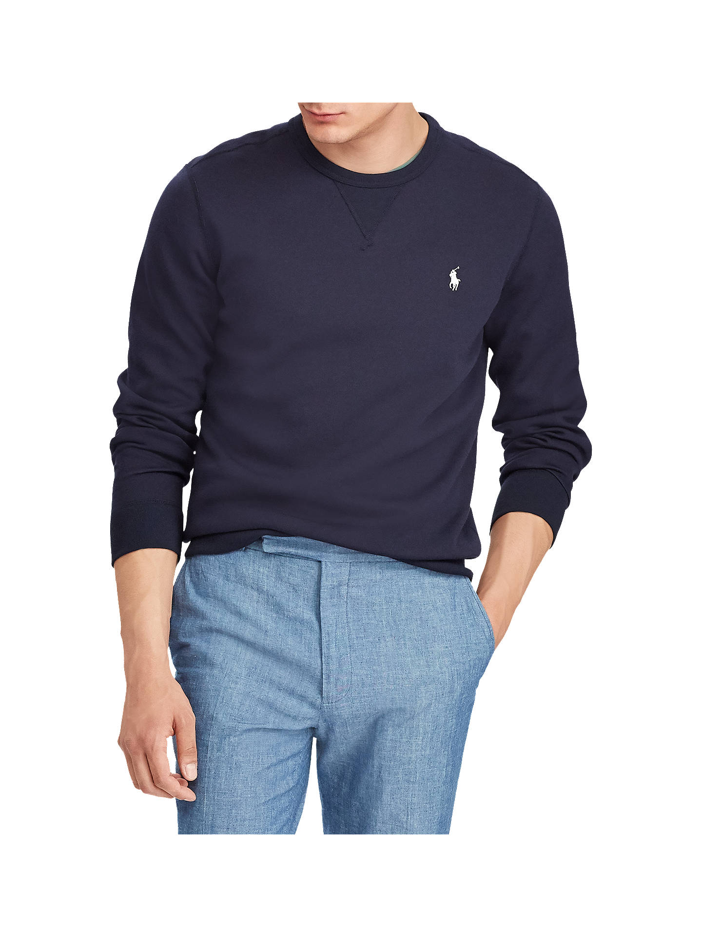 04834f77c Buy Polo Ralph Lauren Double Knit Sweatshirt, Aviator Navy, M Online at  johnlewis.