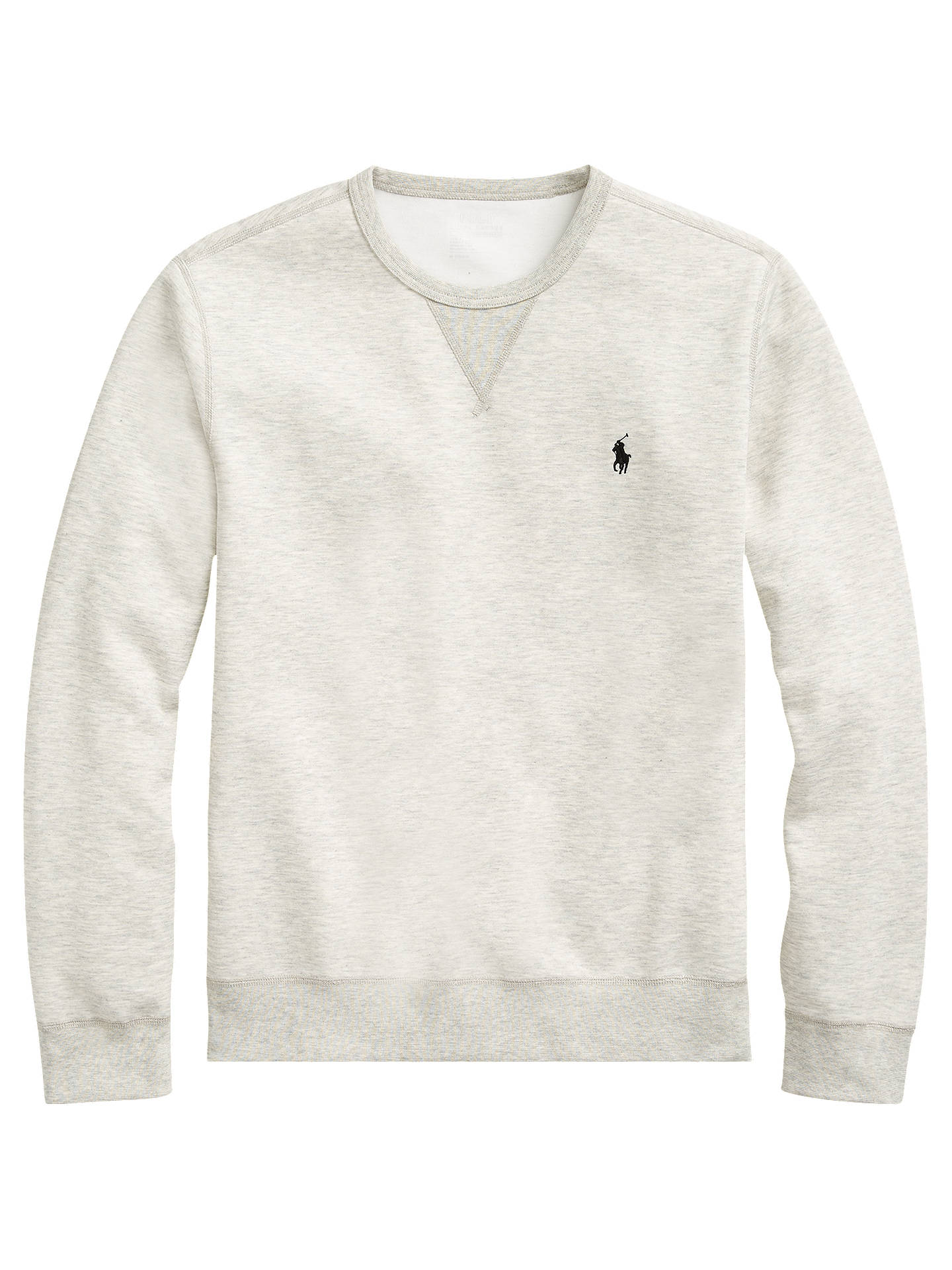 Buy Polo Ralph Lauren Double Knit Crew Neck Jumper, Light Heather Grey, XL Online at johnlewis.com