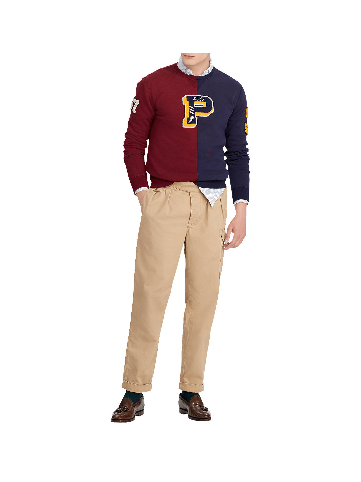 Buy Polo Ralph Lauren Logo Crew Neck Jumper, Cruise Navy/Burgundy, M Online at johnlewis.com