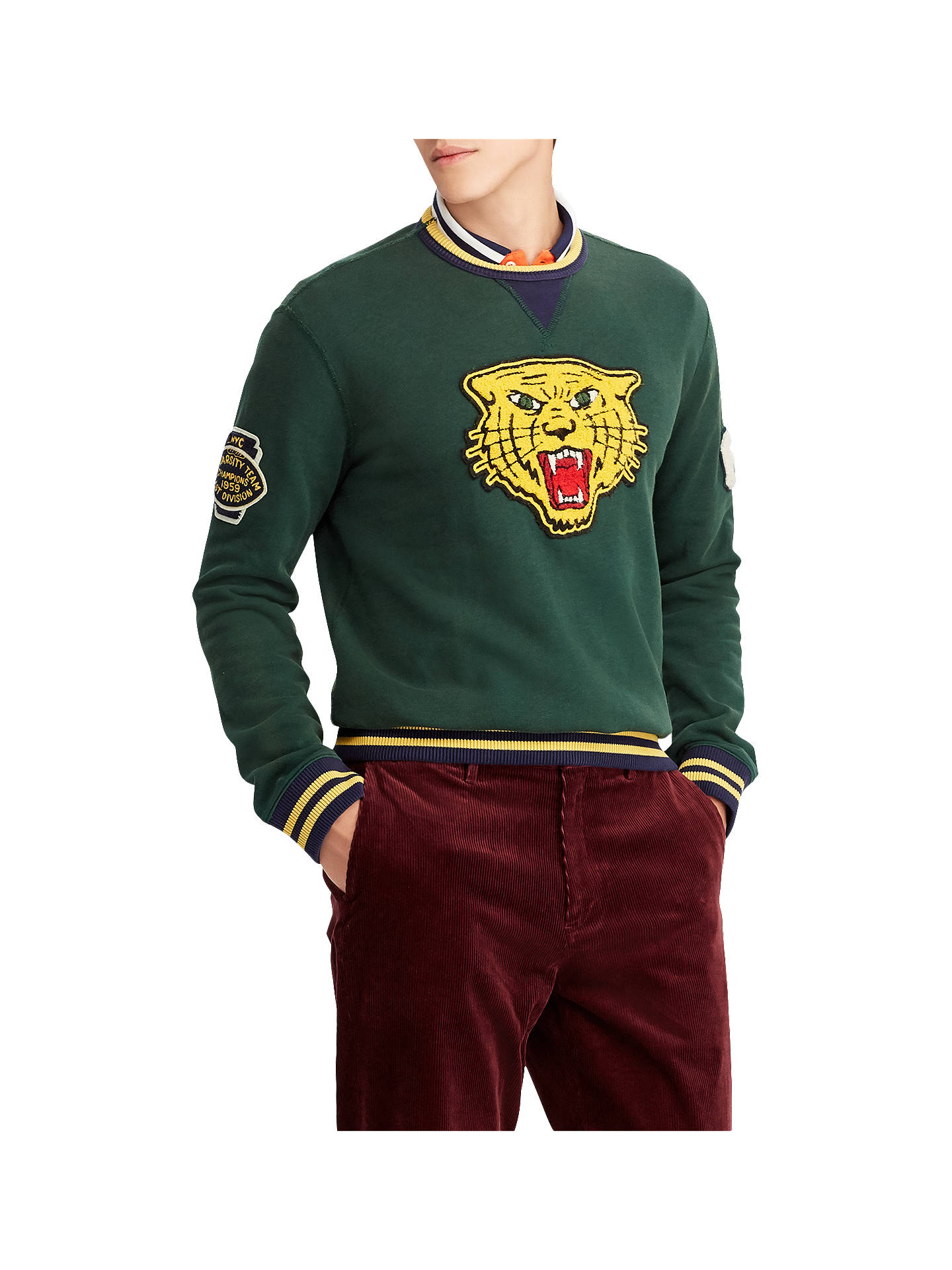 Buy Polo Ralph Lauren Jersey Tiger Jumper, College Green, L Online at johnlewis.com