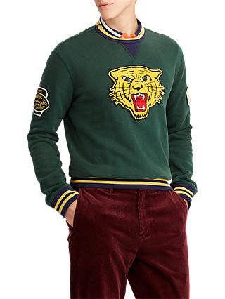 Buy Polo Ralph Lauren Jersey Tiger Jumper, College Green, M Online at johnlewis.com