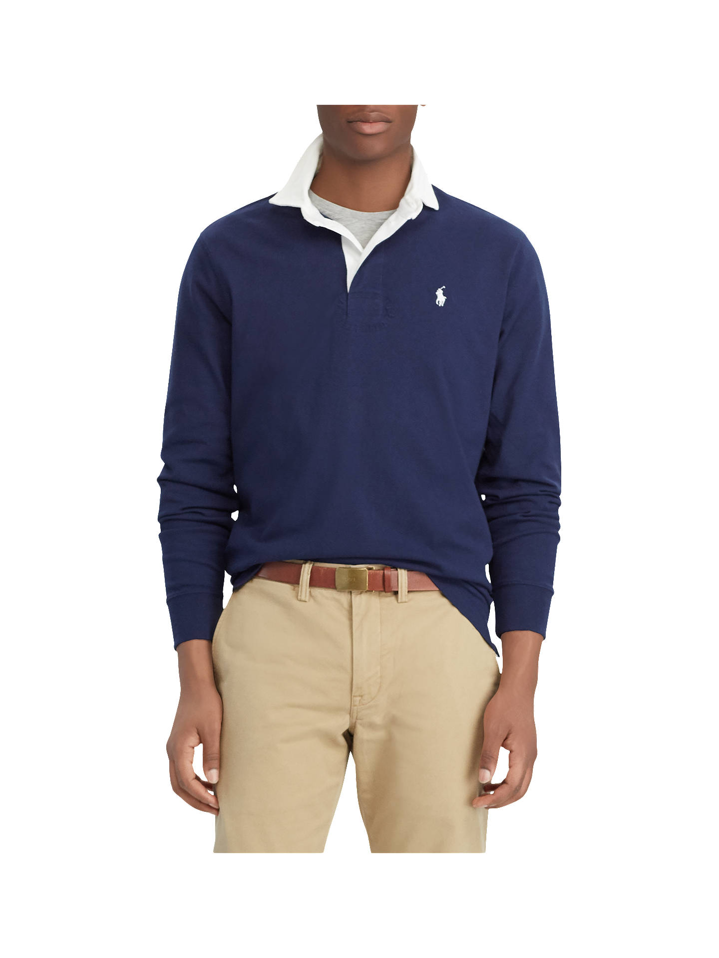 a5482ed6a7c Buy Polo Ralph Lauren Long Sleeve Rugby Shirt, Newport Navy, M Online at  johnlewis ...