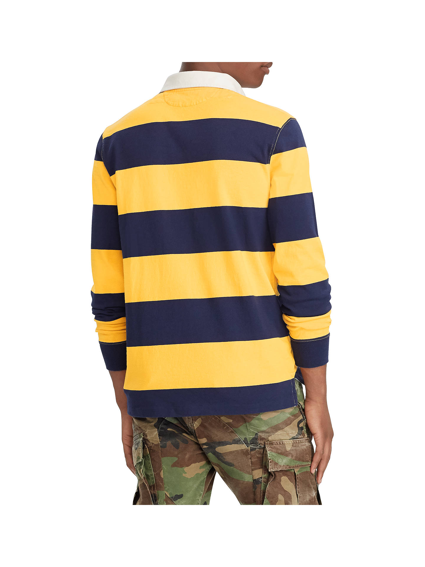 c110e8cd984 Polo Ralph Lauren Striped Rugby Jersey Top, Gold Bugle/Navy at John ...