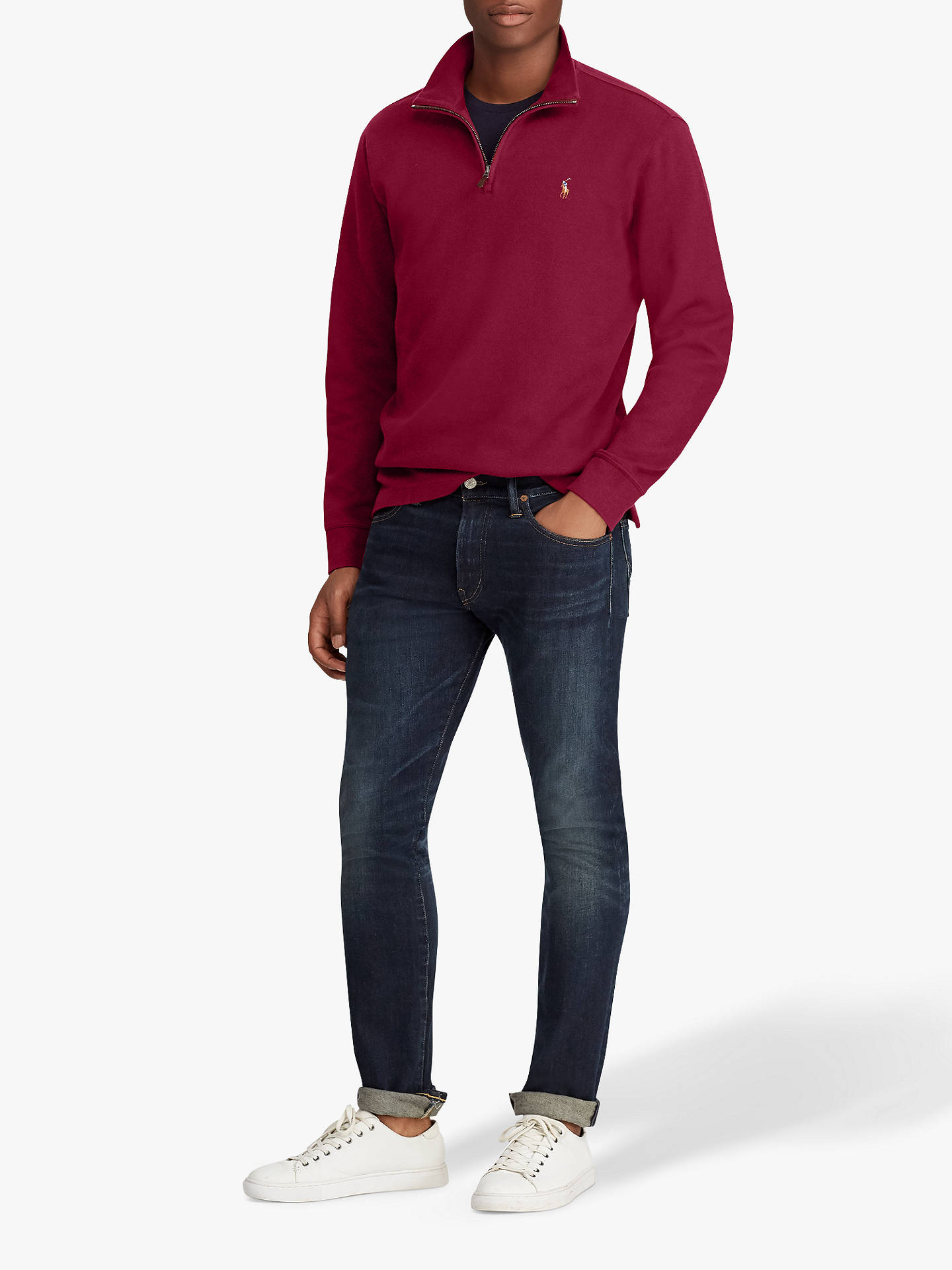 Buy Polo Ralph Lauren Half Zip Jumper, Classic Wine, L Online at johnlewis.com