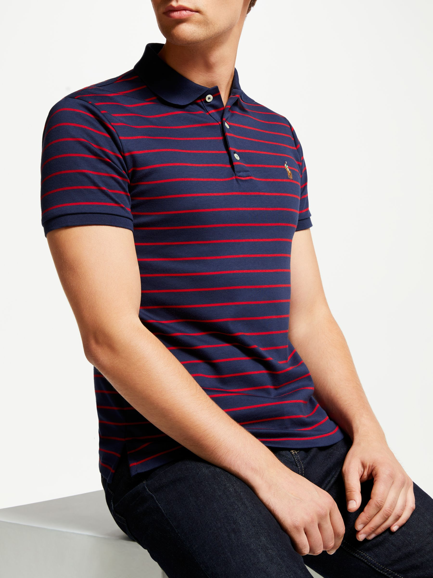7ce34537 Polo Ralph Lauren Stripe Pima Cotton Polo Shirt, French Navy/Red at ...
