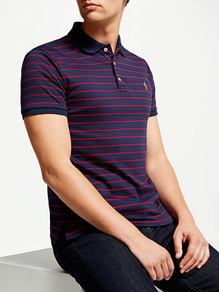 Buy Polo Ralph Lauren Stripe Pima Cotton Polo Shirt, French Navy, L Online at johnlewis.com