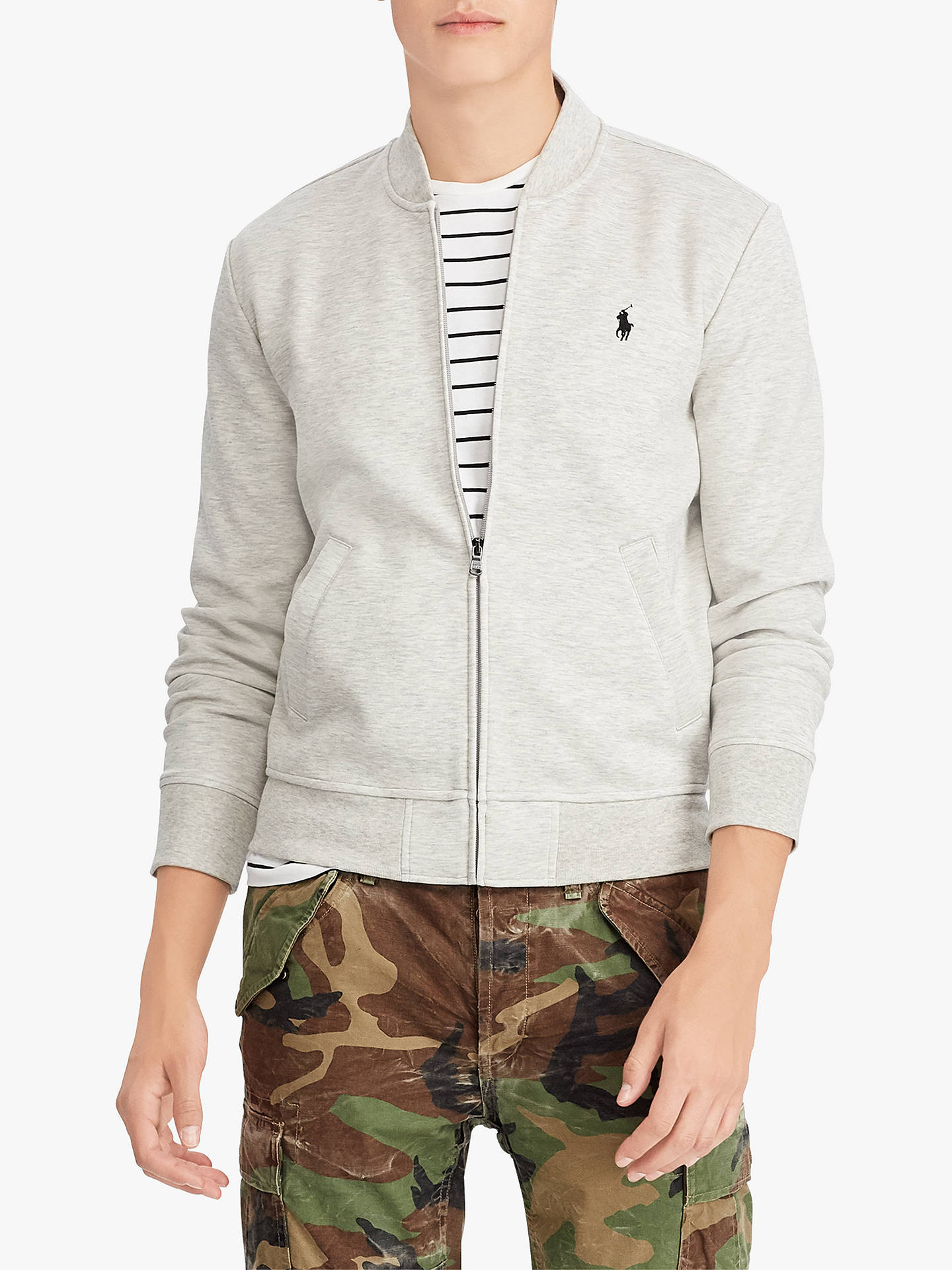 Buy Polo Ralph Lauren Jersey Bomber Jacket, Grey, S Online at johnlewis.com