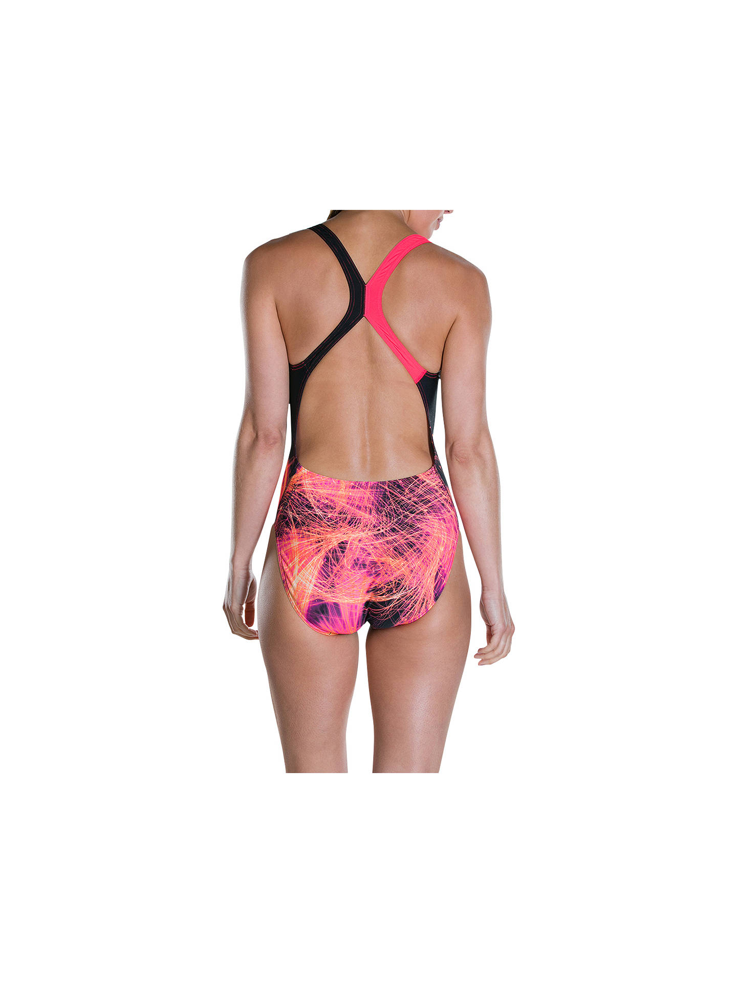 BuySpeedo HeatShine Placement Digital Powerback Swimsuit, Heatshine Black/Post It Pink, 40 Online at johnlewis.com
