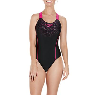 Image of Speedo Gala Logo Medalist Swimsuit, Black/Electric Pink