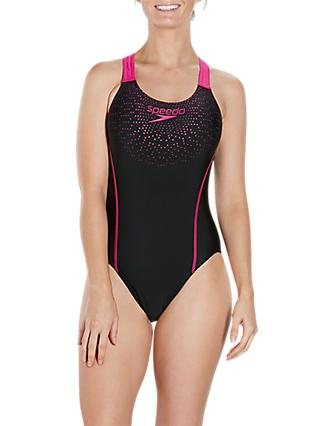 Speedo Gala Logo Medalist Swimsuit, Black/Electric Pink