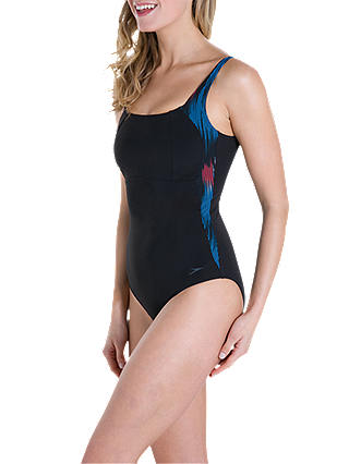 Buy Speedo Sculpture LunaLustre Swimsuit, Black/Windsor Blue/Hot Orange, 36 Online at johnlewis.com