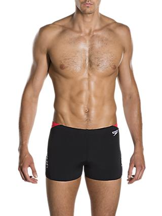 Speedo Boom Print Splice Aquashort Swim Shorts, Boom Black/White/Lava Red