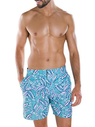 "Speedo Vintage Print 16"" Swim Shorts, Dream Fuse Nile Blue/Black"