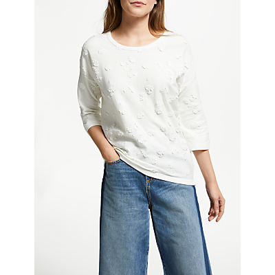 Maison Scotch Embroidery Sweatshirt, Denim White