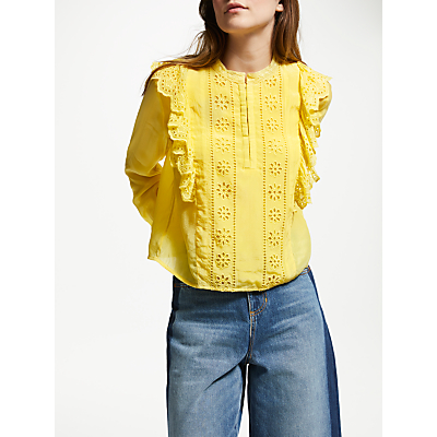 Maison Scotch Embroidered Blouse, Cheddar