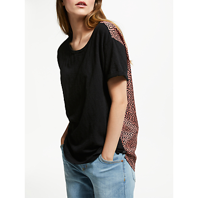 Maison Scotch Contrast Back T-Shirt, Black/Multi