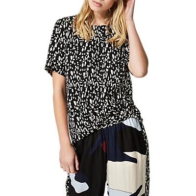 Selected Femme Leola Leopard Print Top, Black/Sand