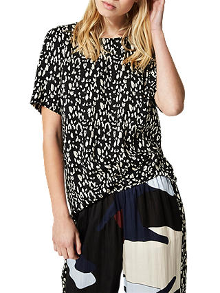 Buy Selected Femme Leola Leopard Print Top, Black/Sand, 8 Online at johnlewis.com