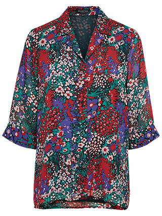 Buy Selected Femme Wilda Floral Print Shirt, Cadmium Green, 8 Online at johnlewis.com