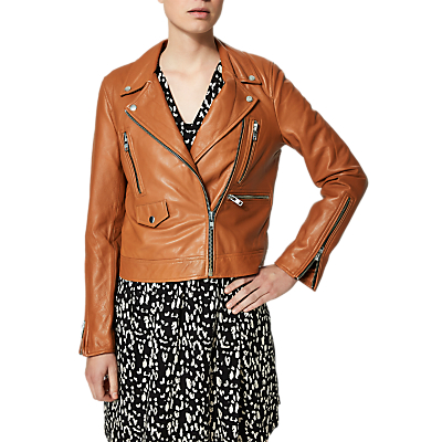 Selected Femme Ally Leather Jacket, Glazed Ginger