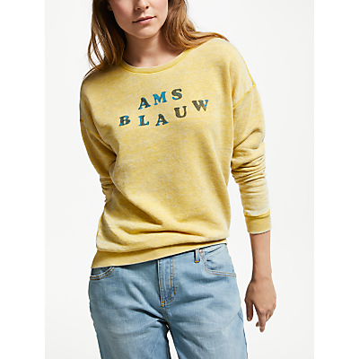 Maison Scotch AMS Blauw Burnout Sweatshirt, Cheddar