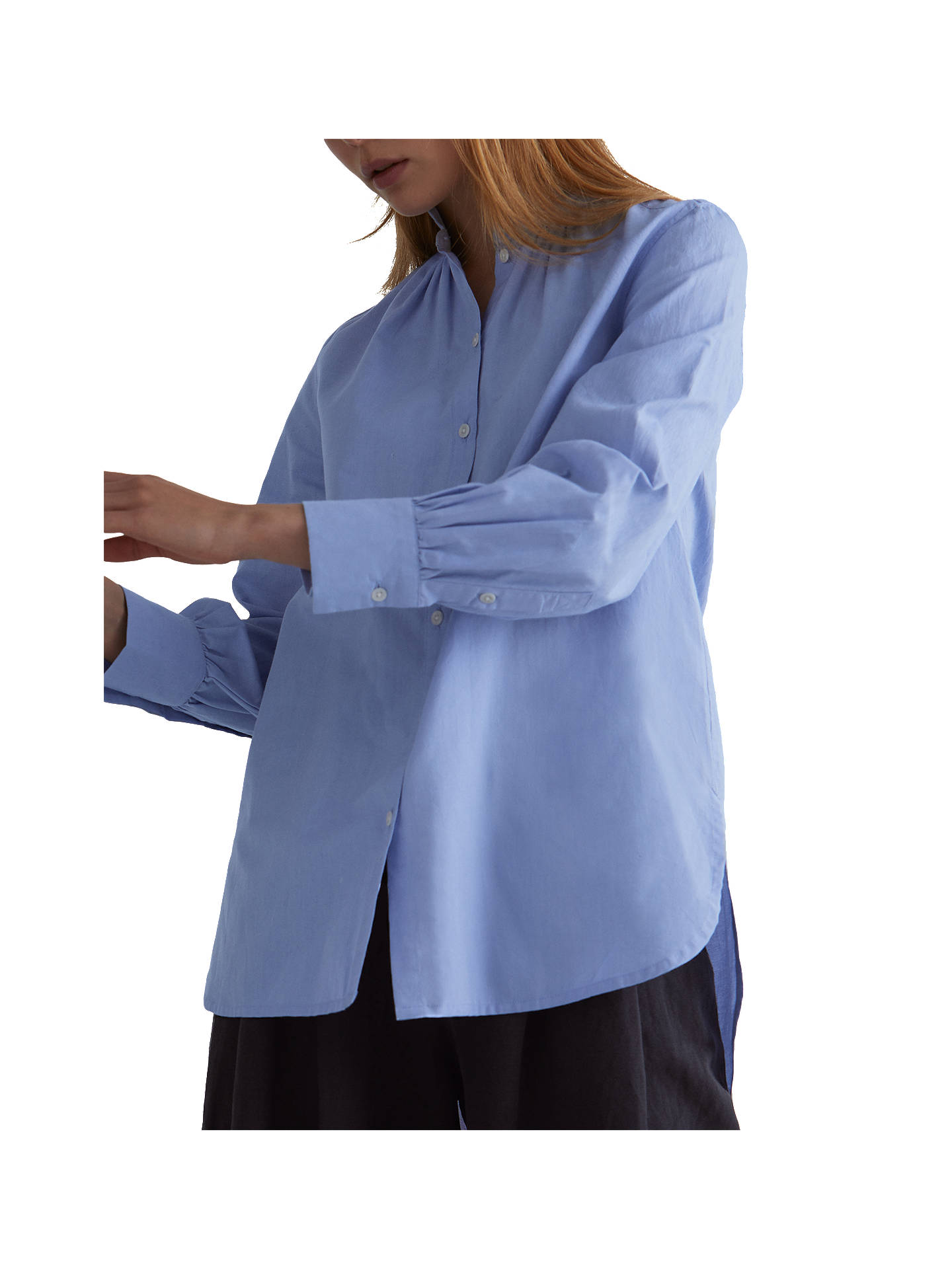 f5a3fca753 Toast Oxford Ruffle Collar Cotton Shirt, Blue at John Lewis & Partners