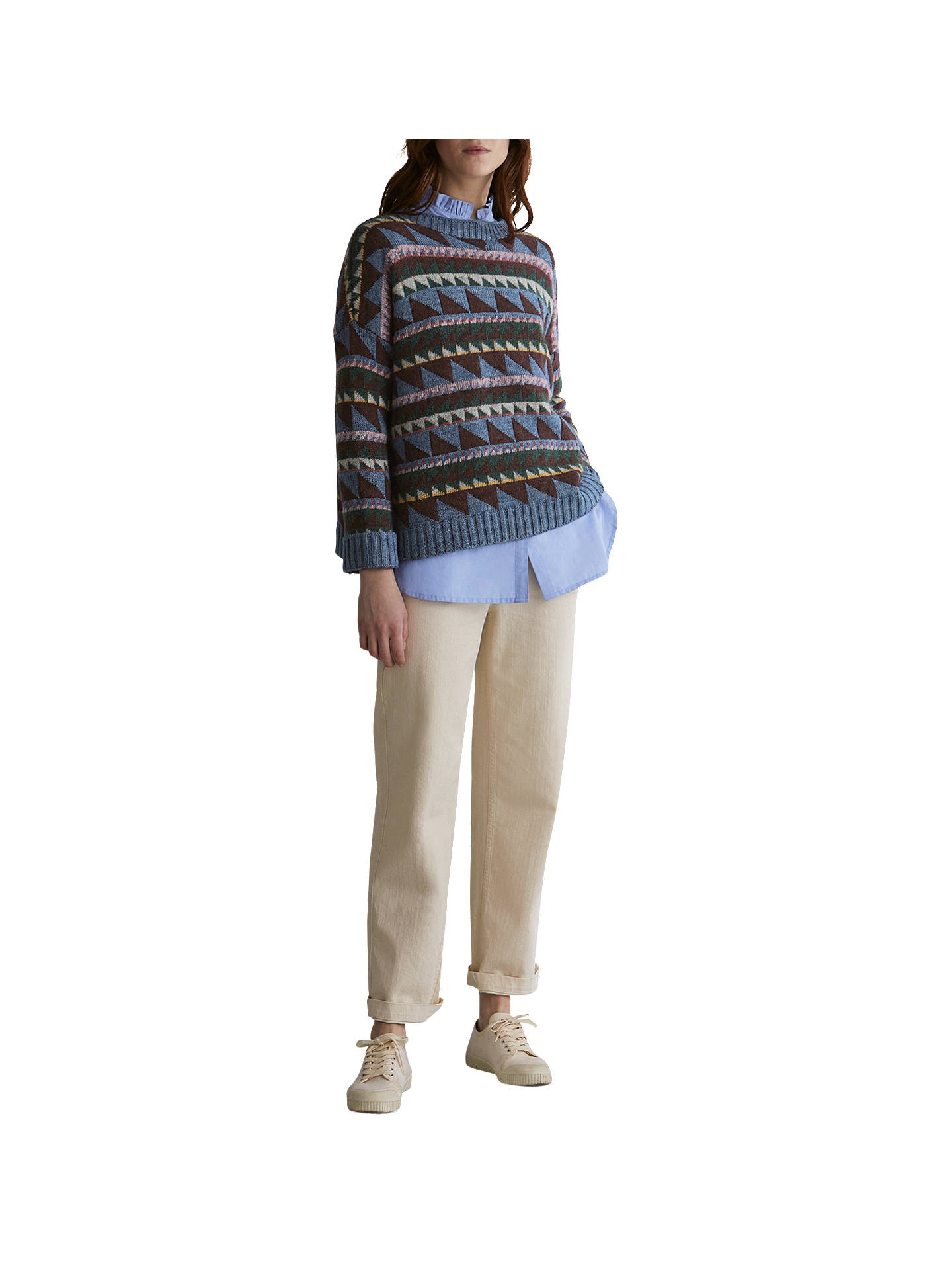 BuyToast Triangle Jacquard Wool Blend Jumper, Misty Blue/Multi, XS-S Online at johnlewis.com