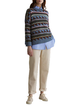 Buy Toast Triangle Jacquard Wool Blend Jumper, Misty Blue/Multi, L-XL Online at johnlewis.com