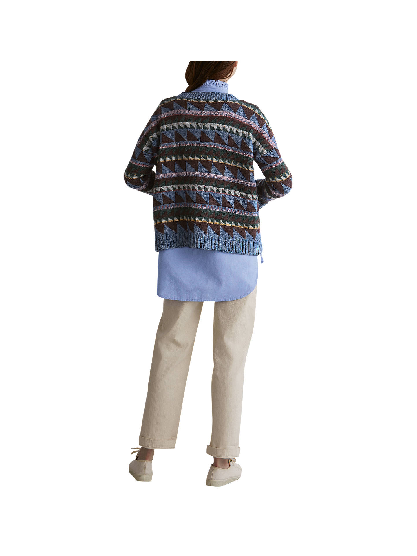 Buy Toast Triangle Jacquard Wool Blend Jumper, Misty Blue/Multi, S-M Online at johnlewis.com