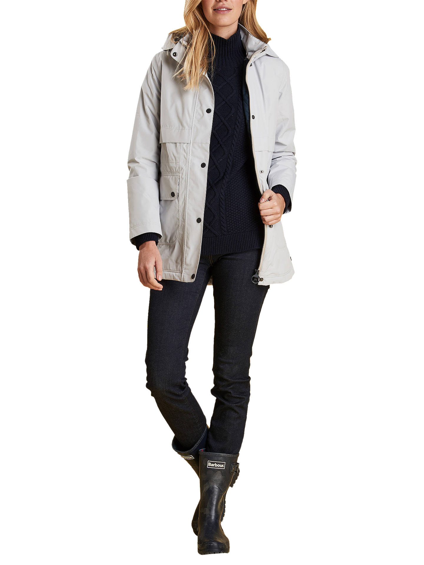 BuyBarbour Altair Waterproof Hooded Jacket, Ice White, 8 Online at johnlewis.com