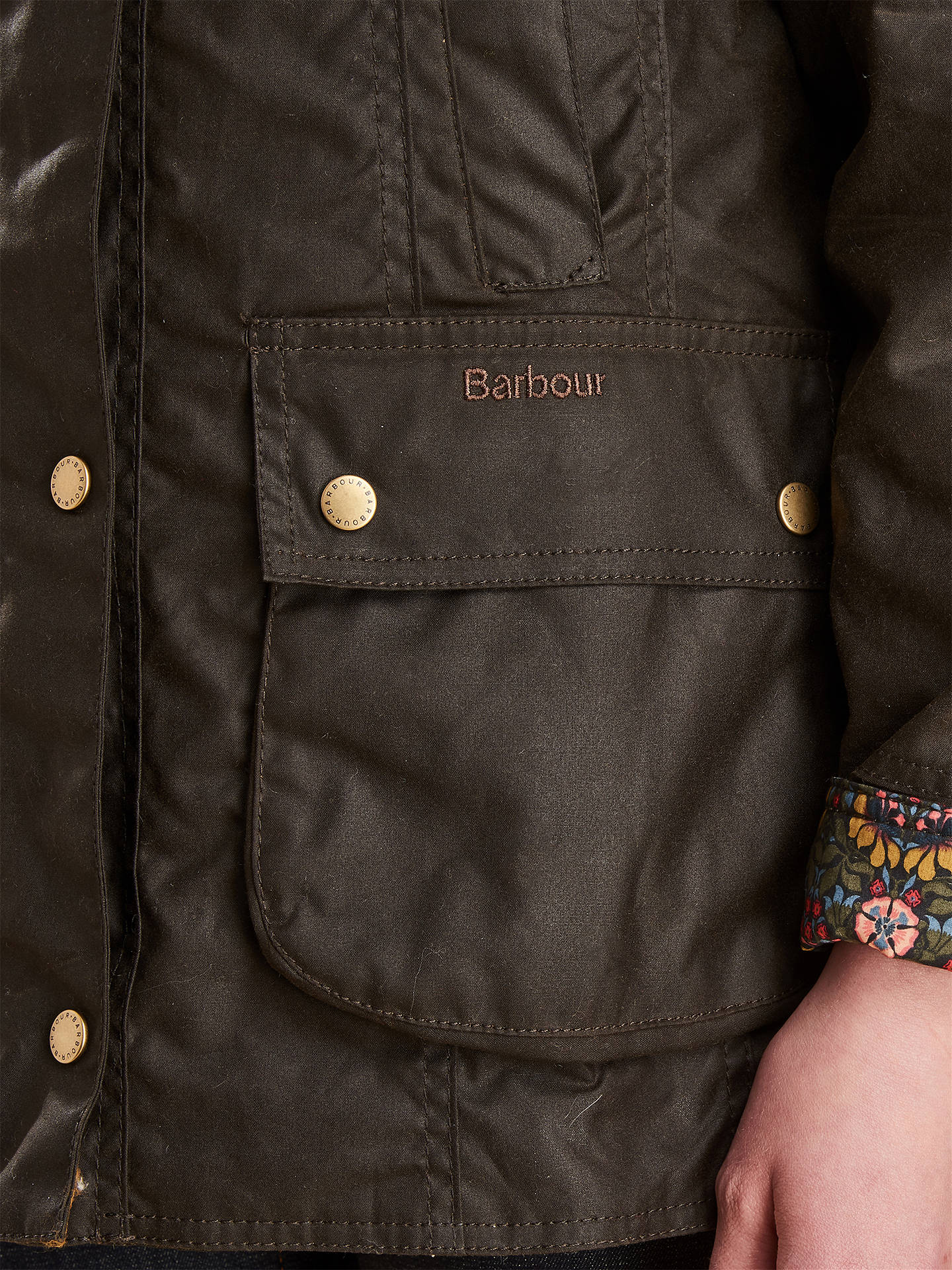 BuyBarbour Abbey Liberty Waxed Jacket, Olive, 8 Online at johnlewis.com