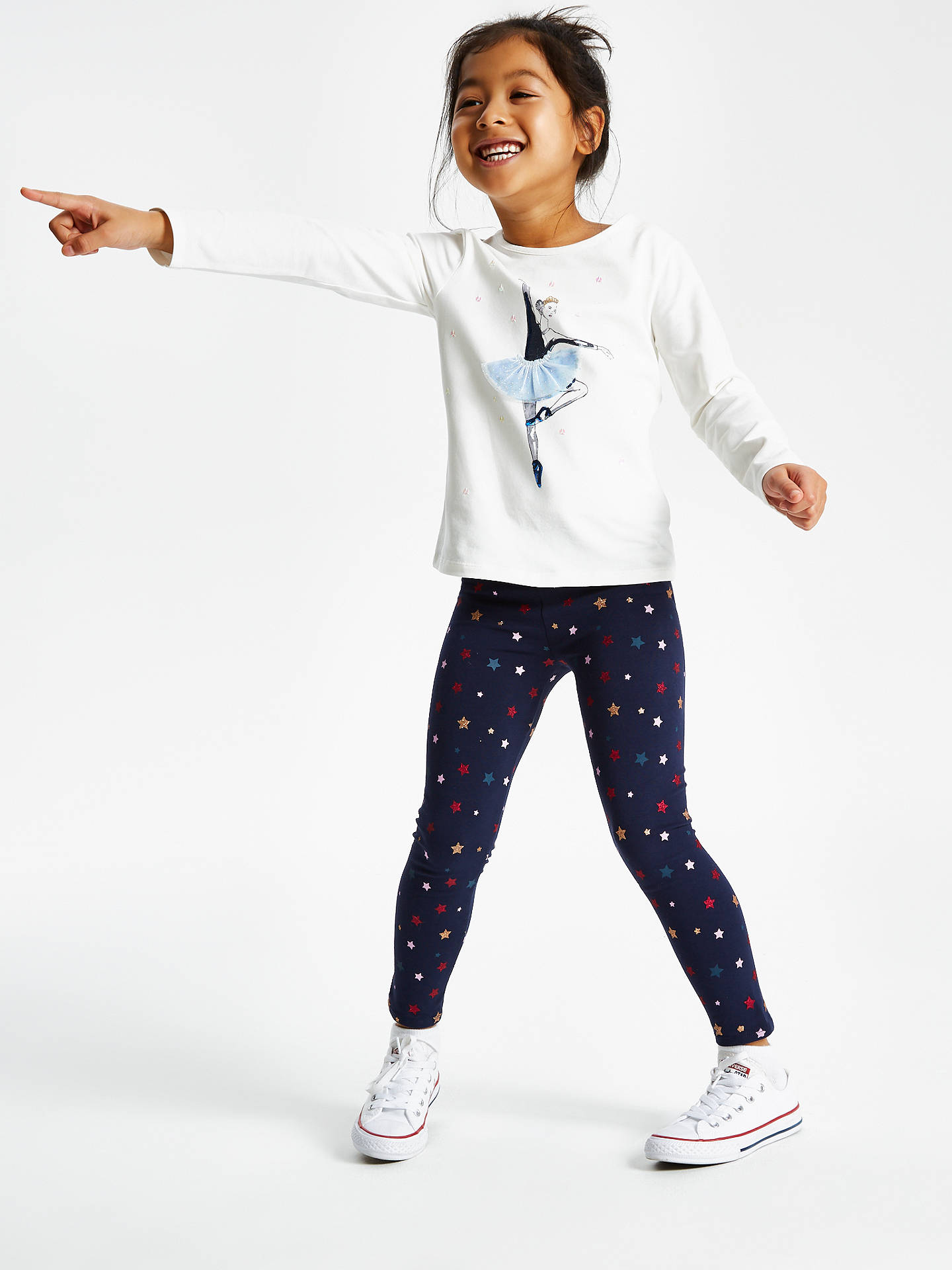 Buy John Lewis & Partners Girls' Star Print Leggings, Navy, 4 years Online at johnlewis.com