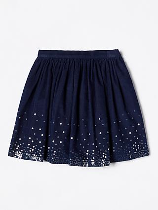 John Lewis & Partners Girls' Corduroy Sequin Skirt, Navy