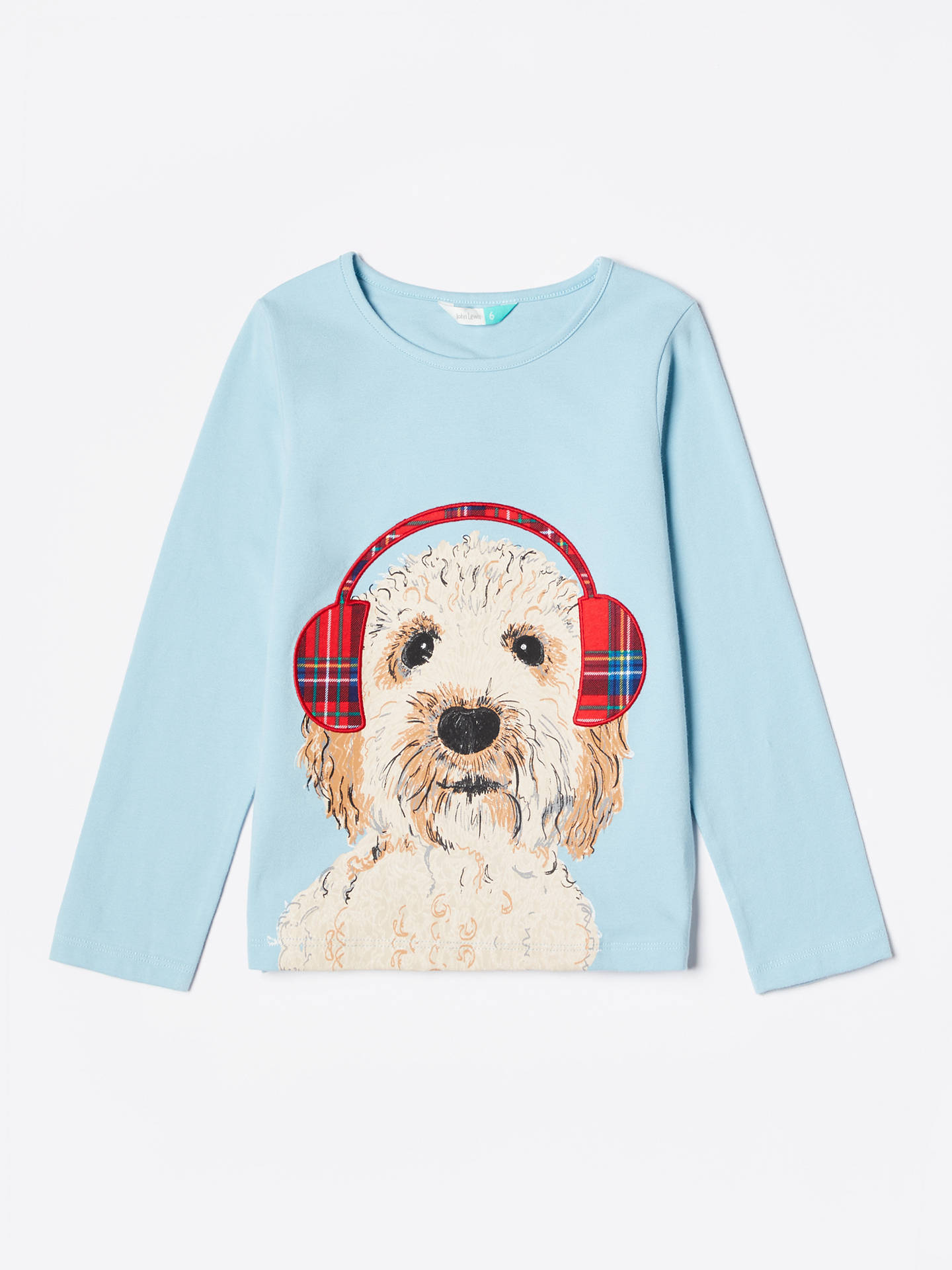 Buy John Lewis & Partners Girls' Dog In Headphones T-Shirt, Aqua, 10 years Online at johnlewis.com