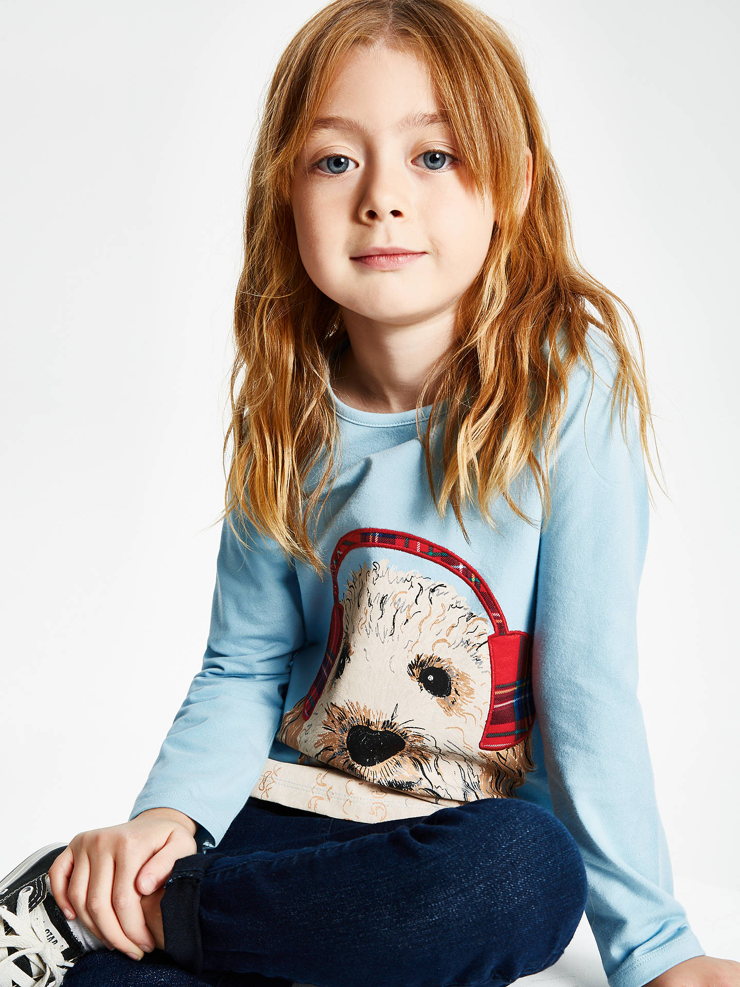 Buy John Lewis & Partners Girls' Dog In Headphones T-Shirt, Aqua, 2 years Online at johnlewis.com