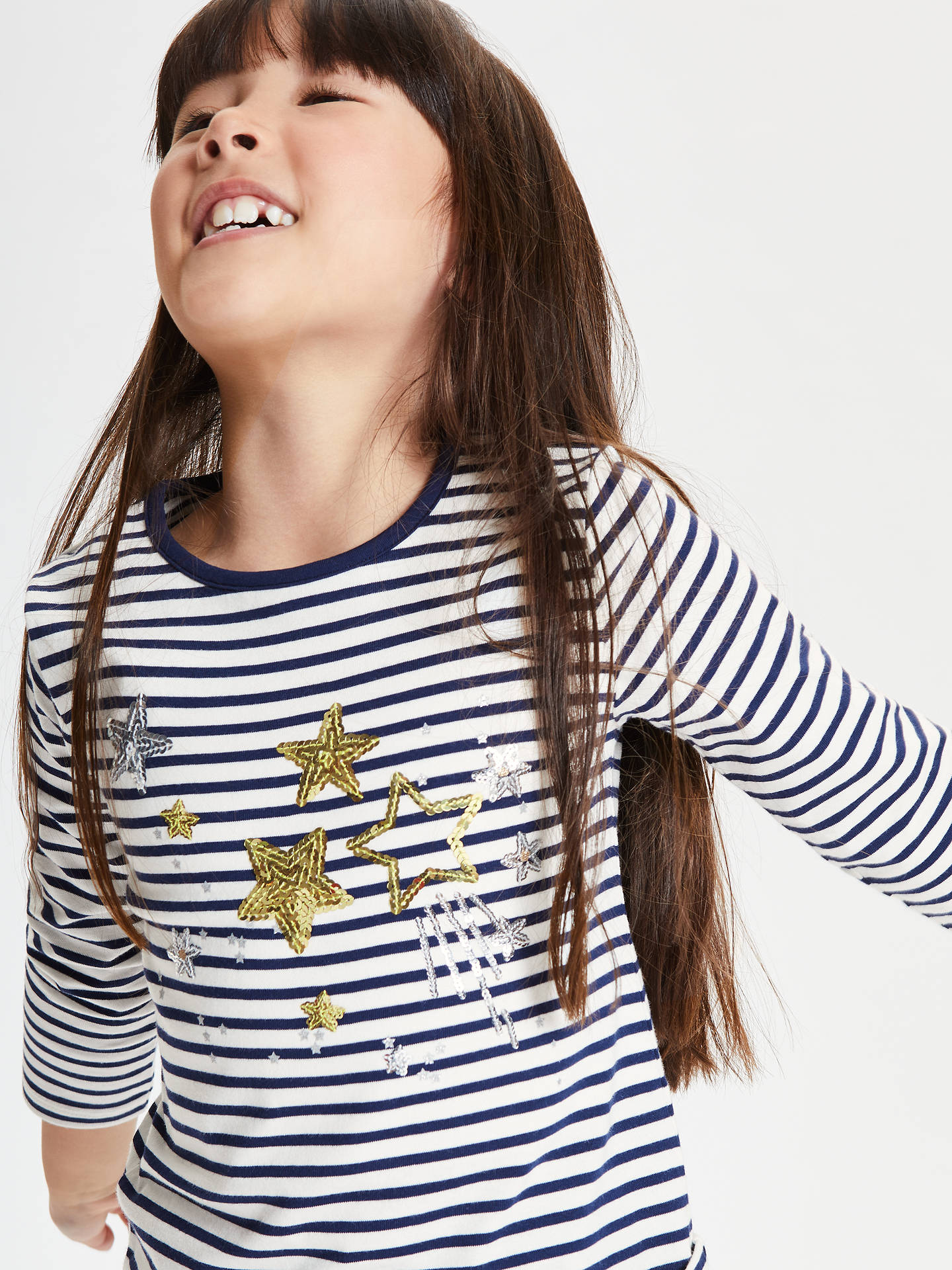 Buy John Lewis & Partners Girls' Star Sequin T-Shirt, Navy, 2 years Online at johnlewis.com