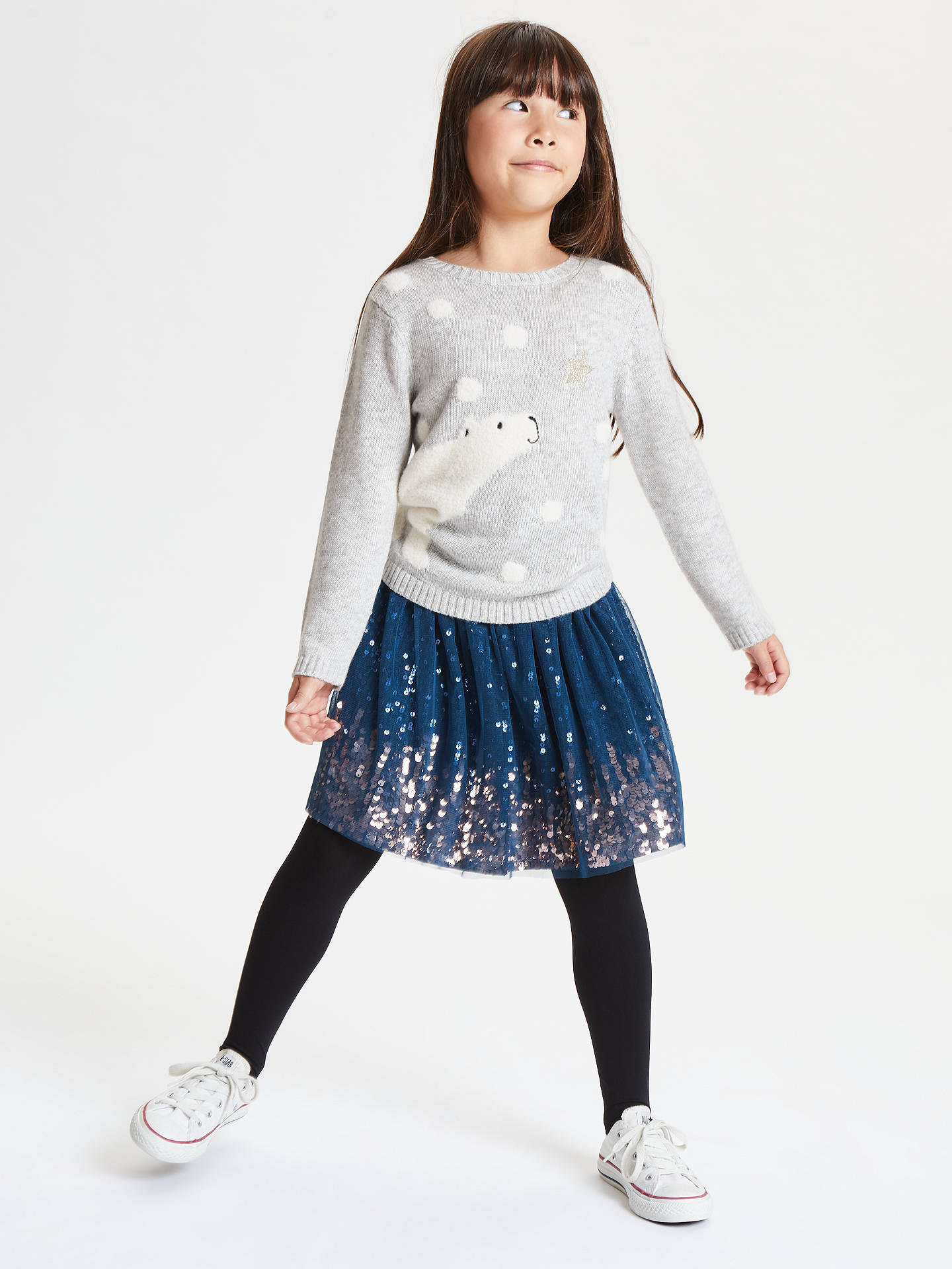 BuyJohn Lewis & Partners Girls' Polar Bear Jumper, Grey, 7 years Online at johnlewis.com
