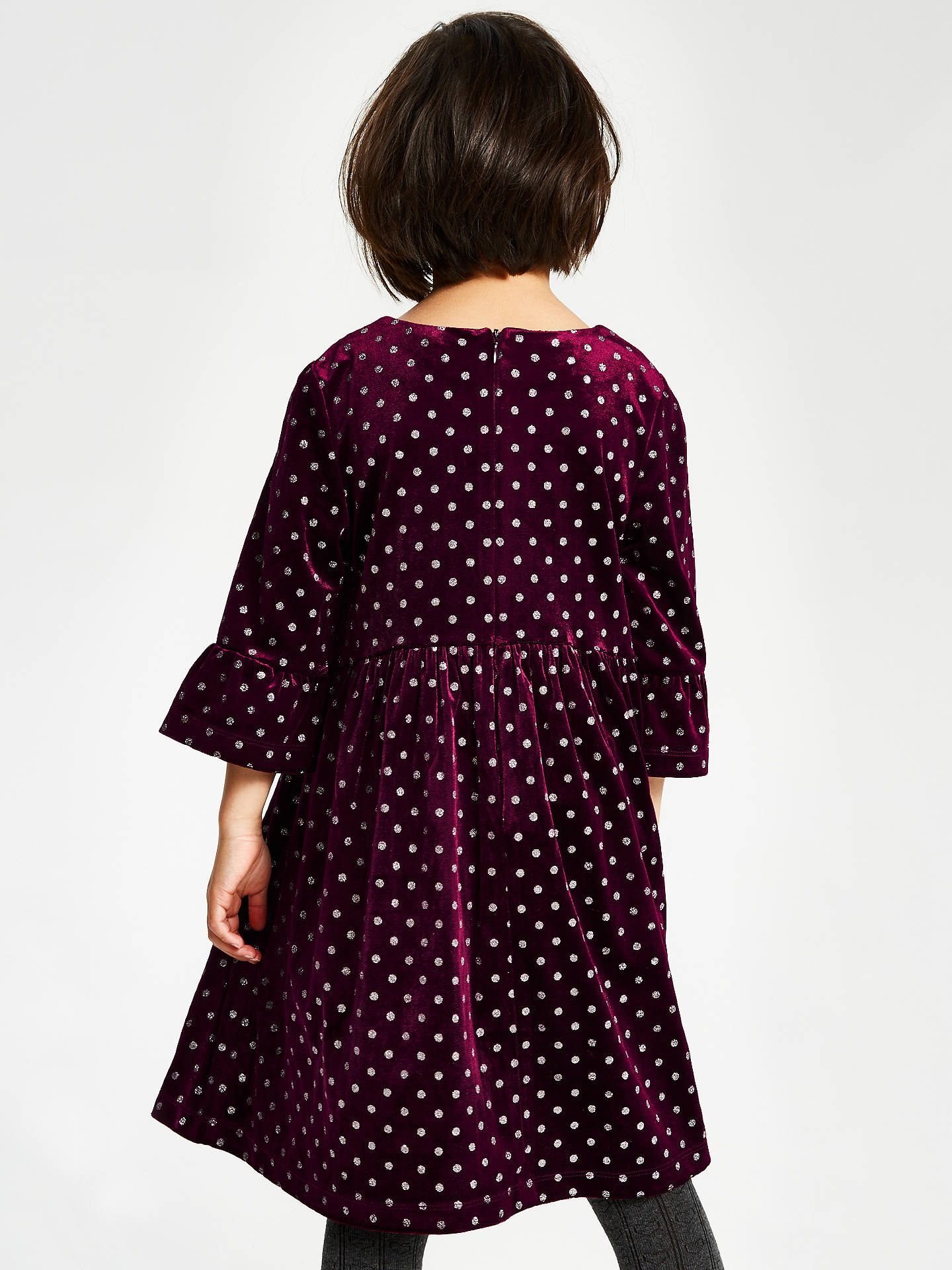 BuyJohn Lewis & Partners Girls' Velour Glitter Spot Dress, Berry, 2 years Online at johnlewis.com