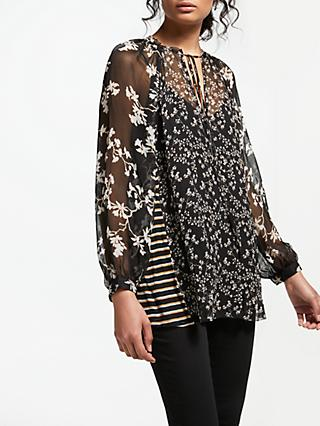 AND/OR Multi Print Patchwork Top, Multi/Black