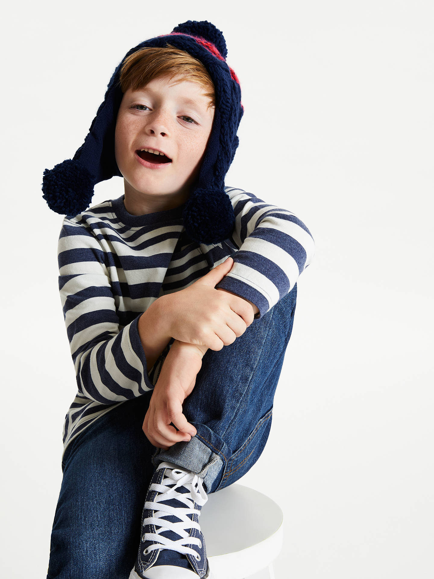 BuyJohn Lewis & Partners Children's Chunky Knit Stripe Trapper Hat, Navy, 3-5 years Online at johnlewis.com
