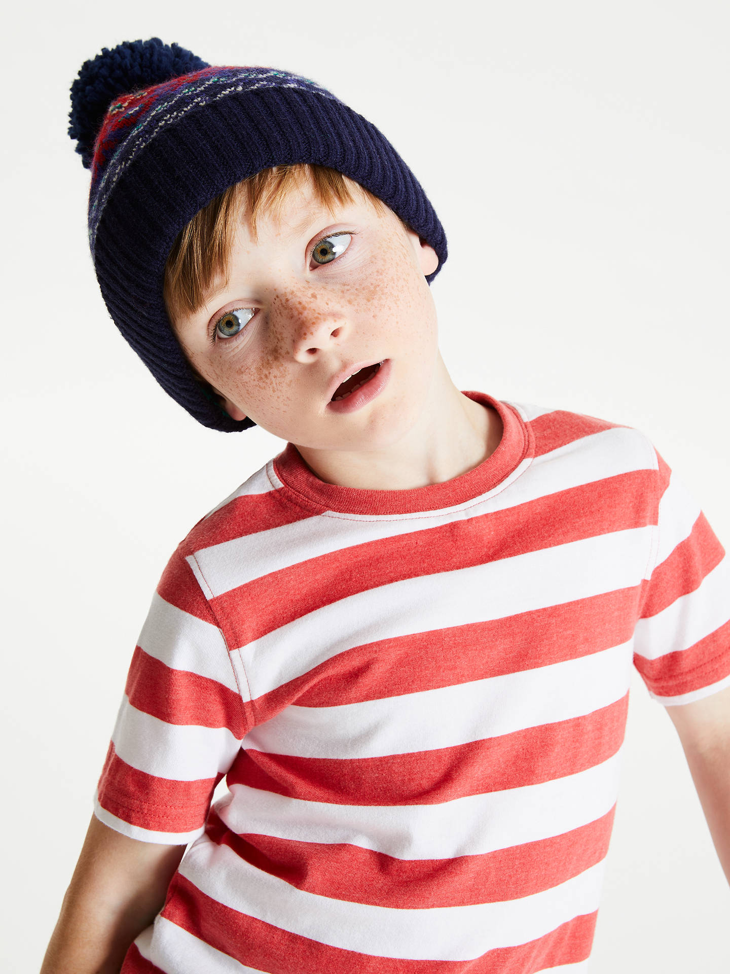 BuyJohn Lewis & Partners Children's Fair Isle Beanie Hat, Red/Navy, 3-5 years Online at johnlewis.com