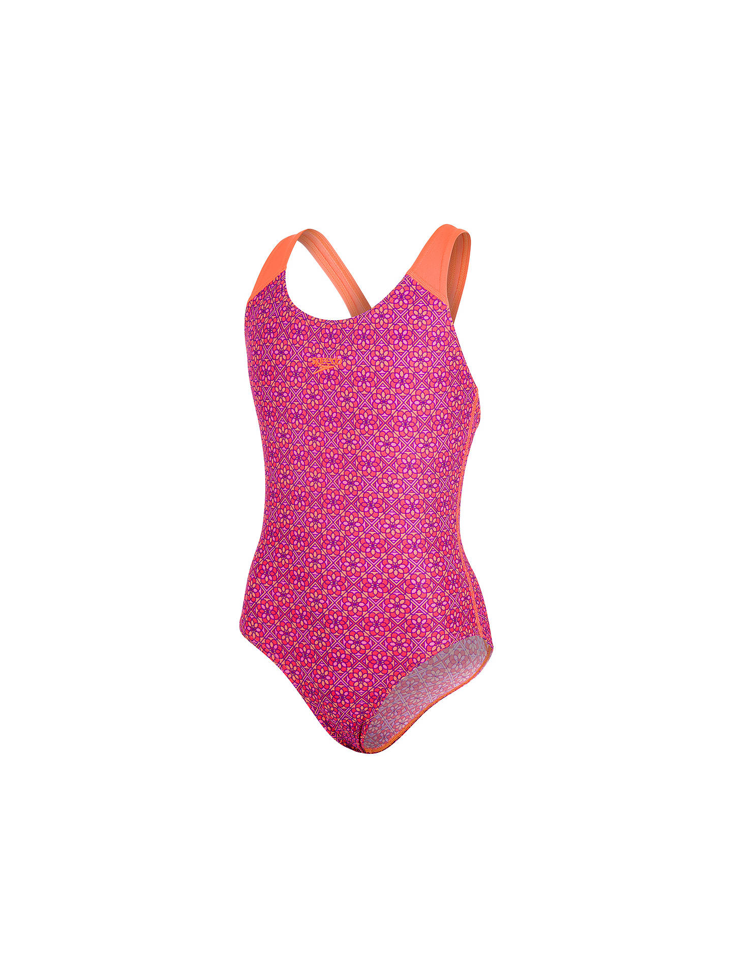 "Buy Speedo Girls' Speedo Splashback Swimsuit, Polka Spot Violet/Fluo Orange, Chest 26"" Online at johnlewis.com"