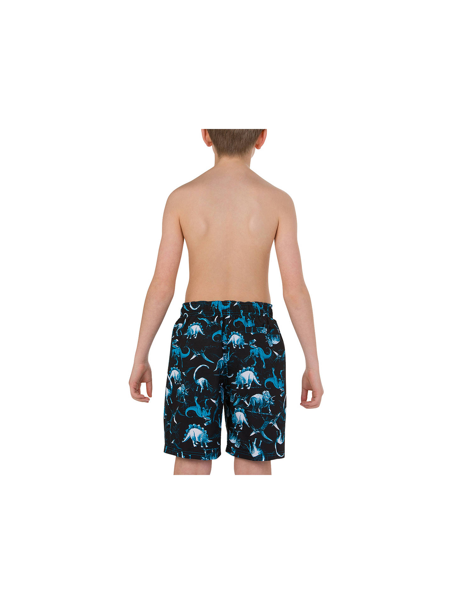 Buy Speedo Boys' Dinosaur Print Leisure Watershorts, Dinotopia Black/Windsor Blue, XS Online at johnlewis.com