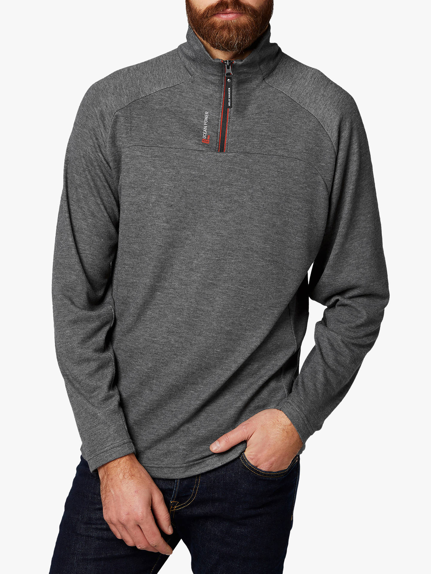 32d83f0c07f186 Buy Helly Hansen 1/2 Zip Midlayer Pullover, Charcoal, S Online at johnlewis  ...
