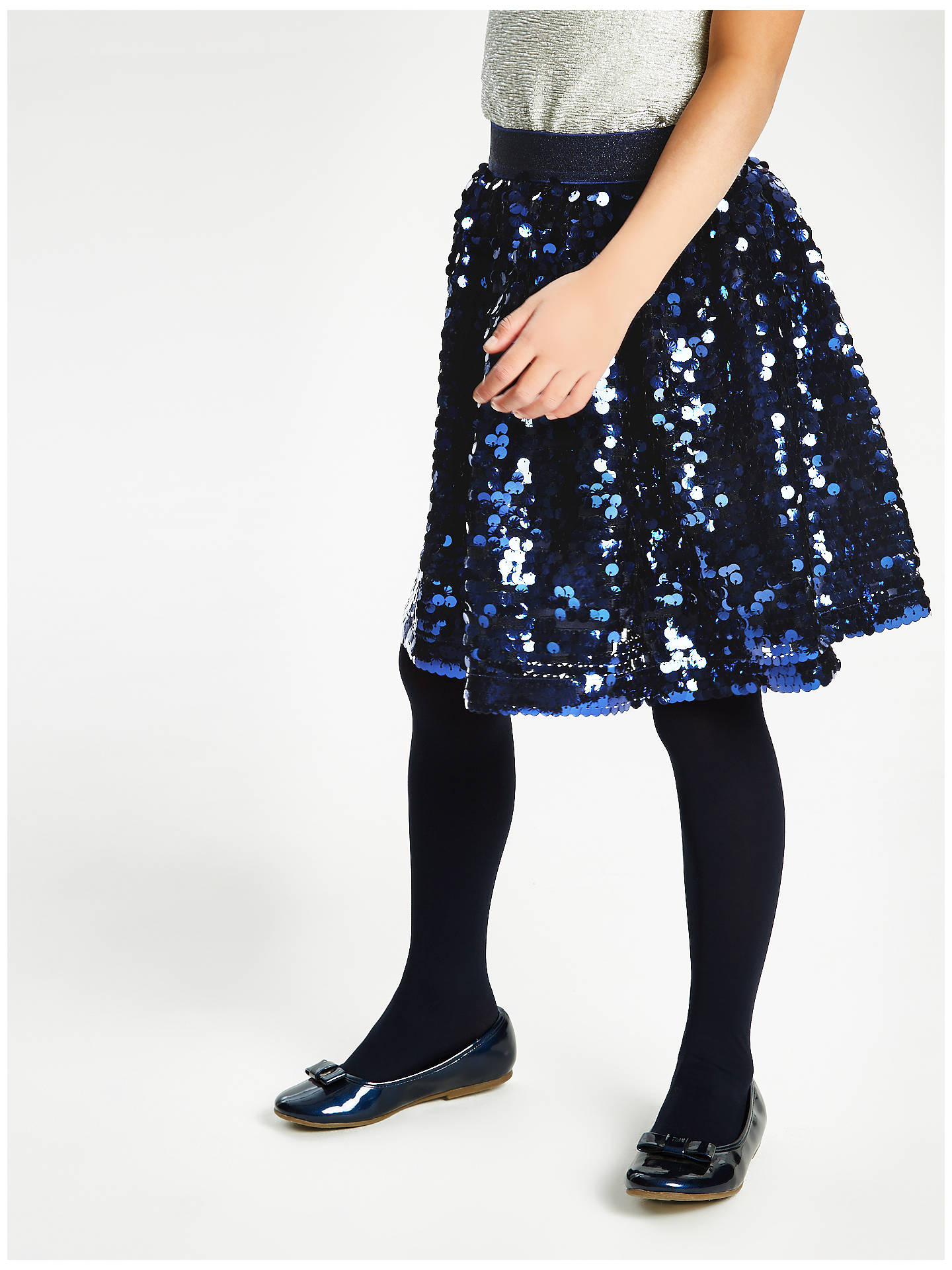 Buy John Lewis & Partners Girls' All Over Sequin Skirt, Navy, 7 years Online at johnlewis.com