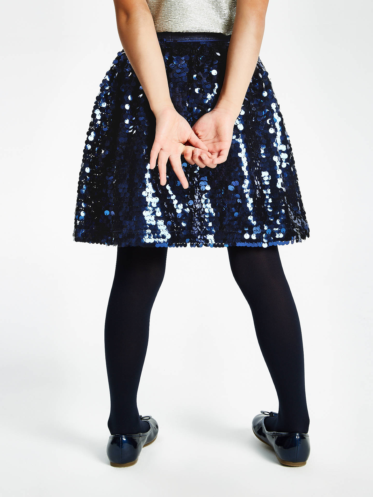 Buy John Lewis & Partners Girls' All Over Sequin Skirt, Navy, 10 years Online at johnlewis.com